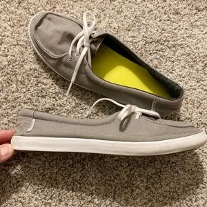 Vans Shoes - Vans Off the Wall Khaki Gray Canvas Boat Shoes 11